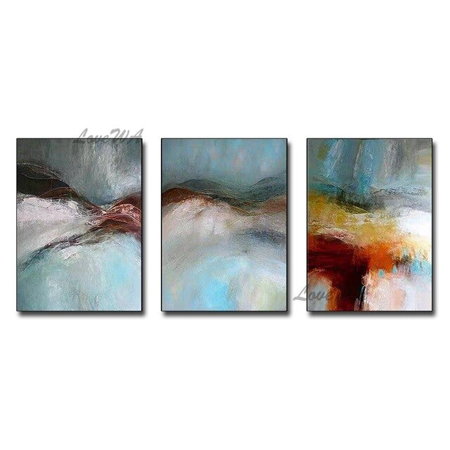 Real Handmade Triptych Abstract Oil Painting - decoratebyyou