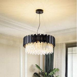 Modern stylish crystal chandelier black round - decoratebyyou