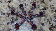 Red white and blue zipper pulls with beads
