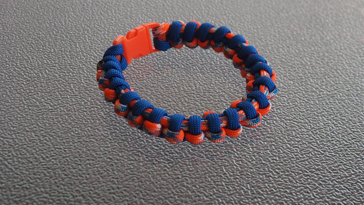 Paracord bracelet orange,blue,light blue  7 1/2 inches
