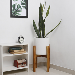 Mid-century White Planter with Stand