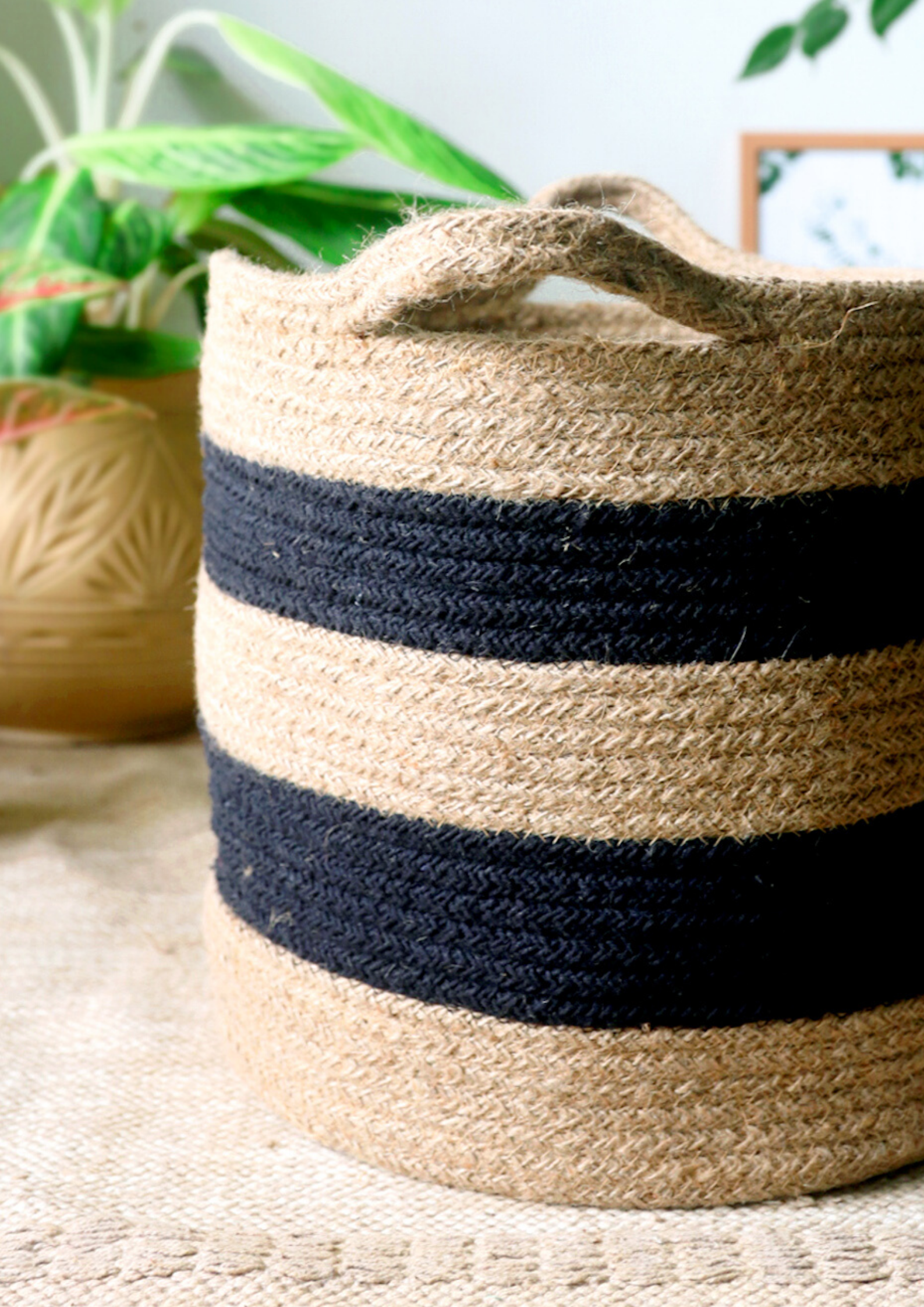 "Brown and Black Striped Basket (11"")"