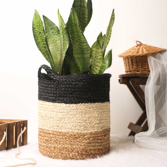 Black Bee Jute Basket