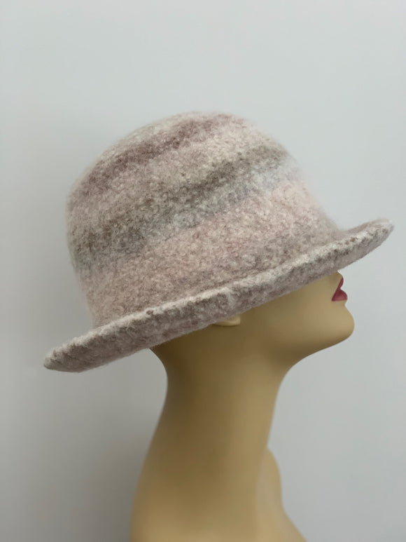 wide brim tan wool winter hat