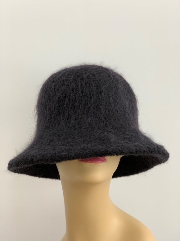 black fuzzy hat