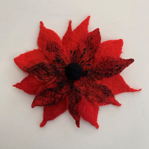 red poinsettia flower pin