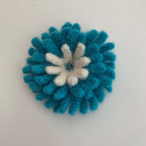 blue chrysanthemum brooch