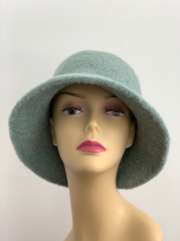light green wool felted hat