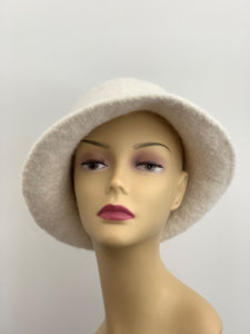 white wool felted hat