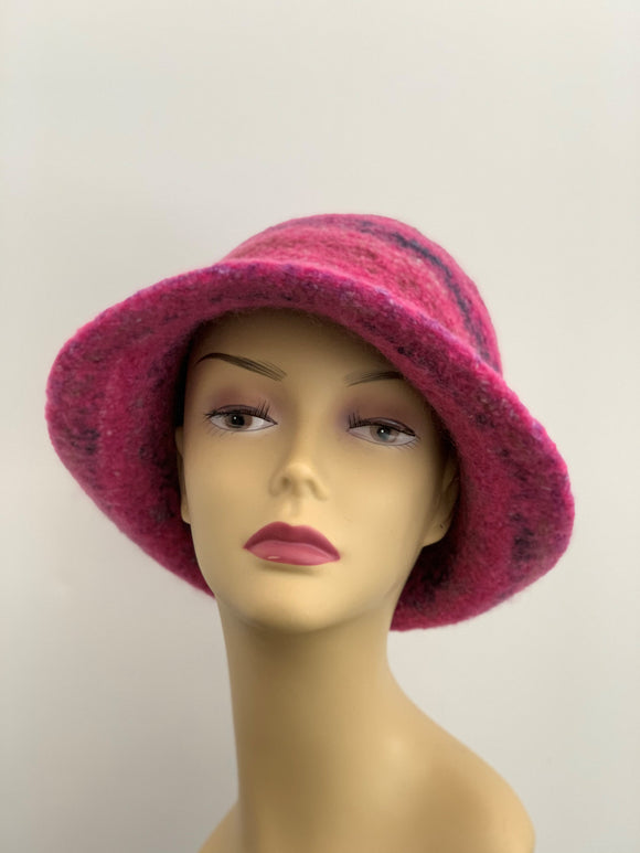 pink and grey wool hat