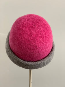 felted wool hat pink and grey