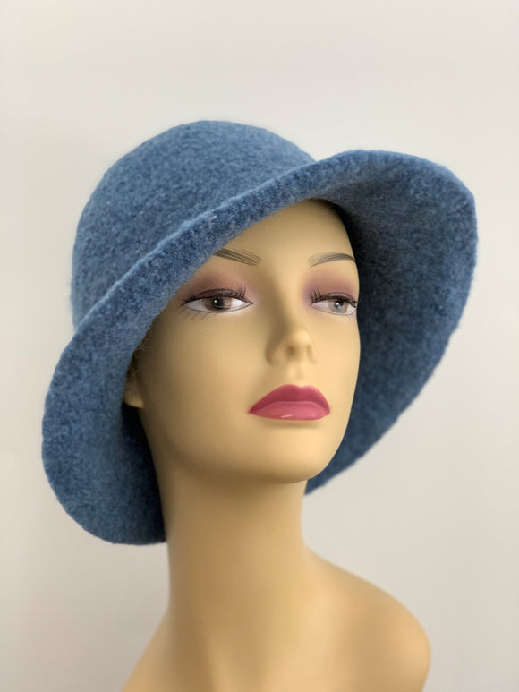 denim blue wool hat