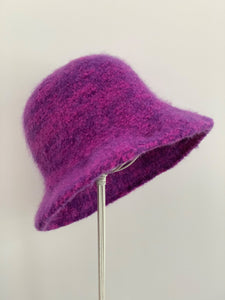pink and purple wool felted hat