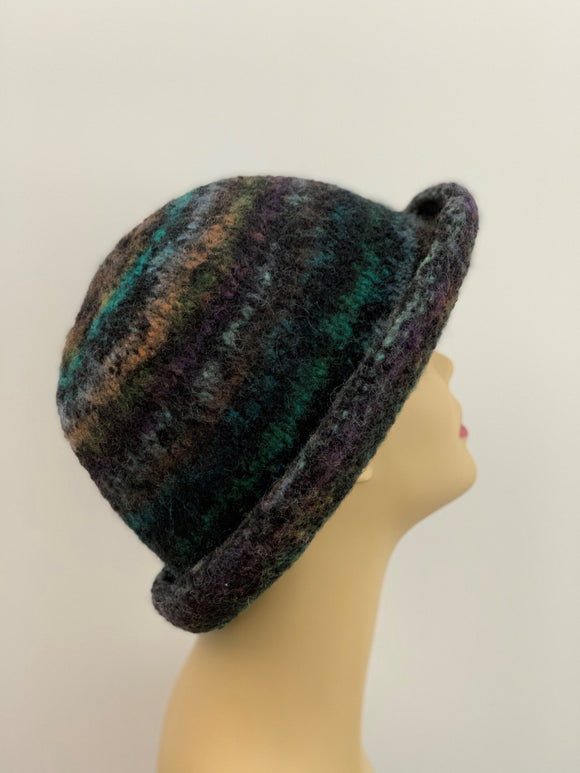 large black multi-color felted wool hat