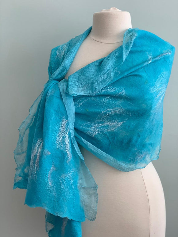 213 Shawl Turquoise Shawl - Silk and Wool