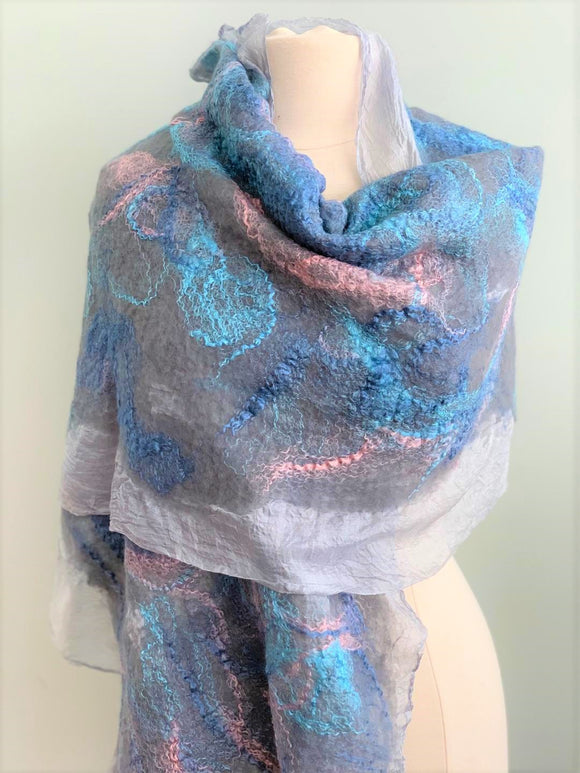grey blue and pink shawl