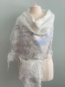 large white shawl with grey and blue