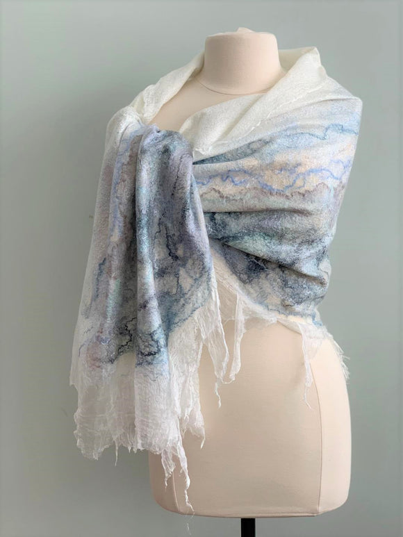 large white nuno felted shawl