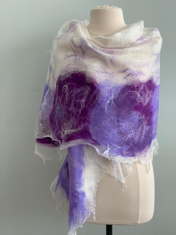 514 Shawl White and Purple Nuno Felted