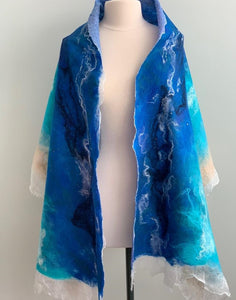 Turquoise, Royal Blue and Taupe Shawl, Evening Shawl, Summer Spring Shawl, Shabby Chic