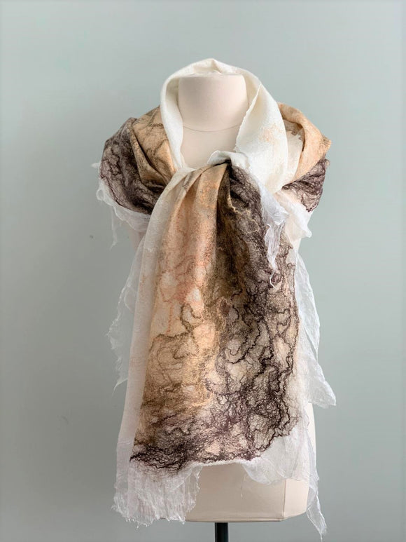 517 White, Beige, Taupe, and Gold Shawl Y517