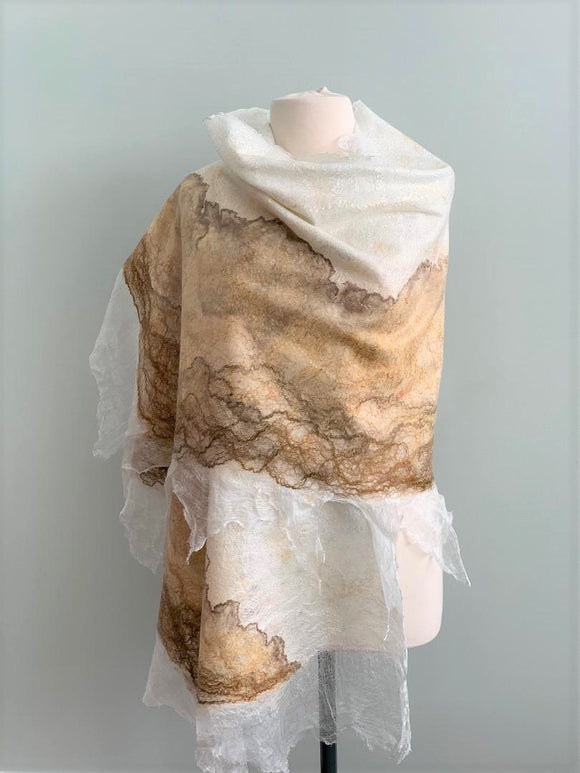 214 Shawl  White, Beige, Taupe, and Gold Shawl   Not Eligible for Discount