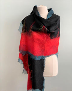 red and black evening shawl
