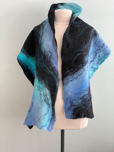 106 Shawl Turquoise and Black Merino Wool