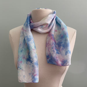 blue and purple silk scarf
