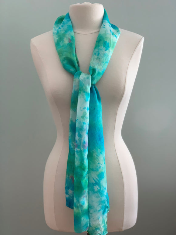 emerald and turquoise silk scarf