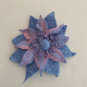 blue and pink wool flower brooch