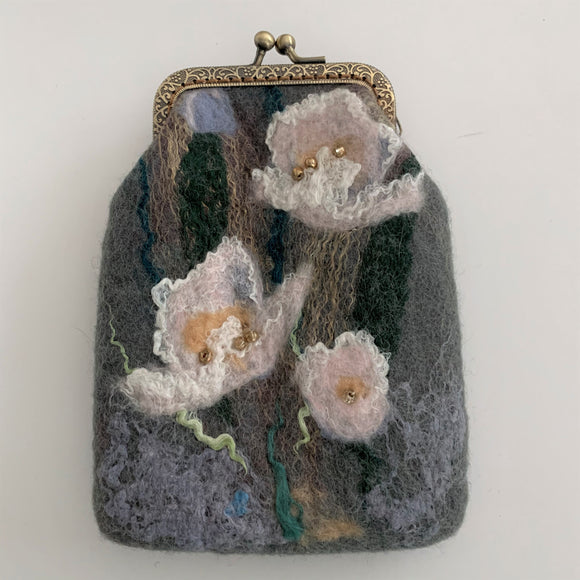 flowered coin purse hand made women's accessory
