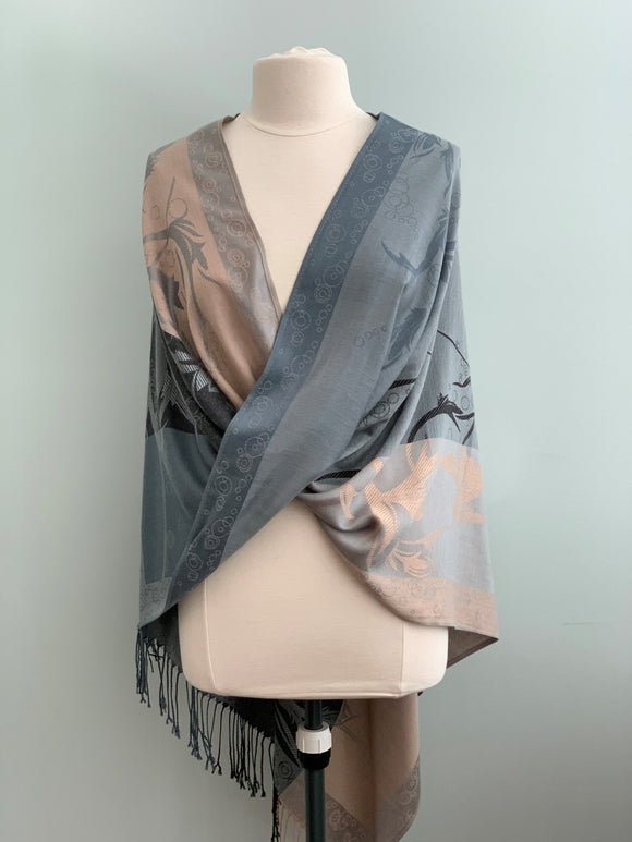 110 Grey, Beige and Black Pashmina Tiffany Cape