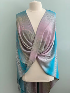 109 Lavender, Grey and Turquoise Pashmina Tiffany Cape