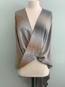 107 Copper and Grey Pashmina Tiffany Cape 107