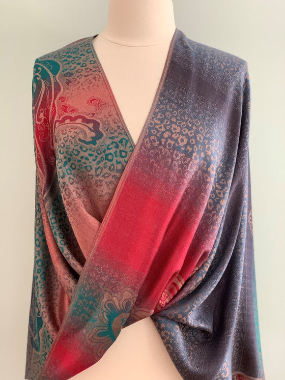 122 Blue and Red Pashmina Tiffany Cape