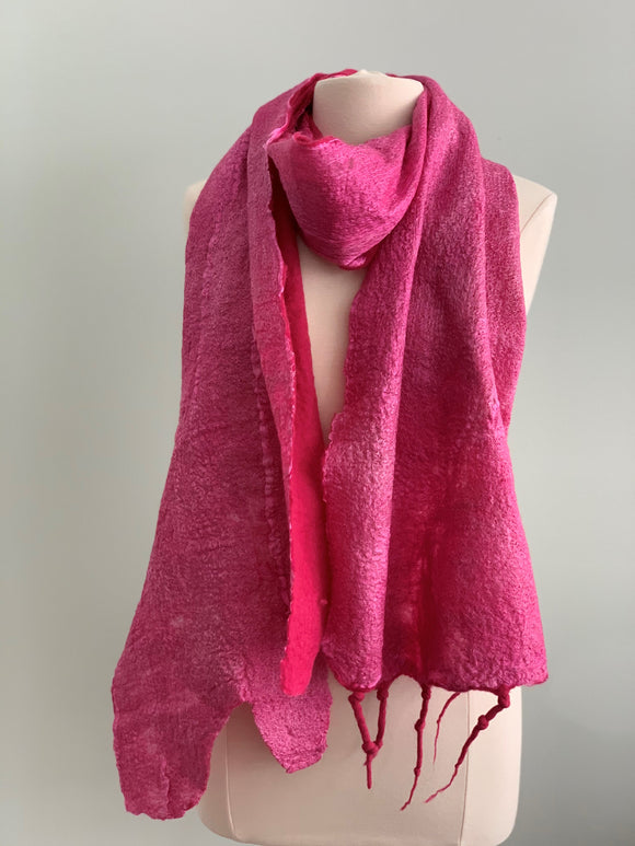 120 Shawl Raspberry Scarf - Silk and Wool