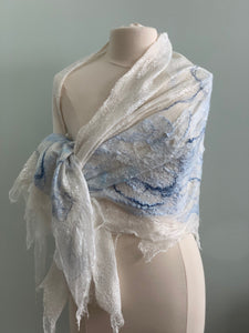 102 Shawl Large White Shawl with Blue and Grey