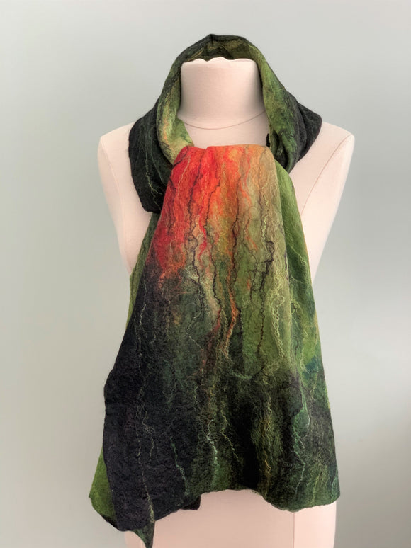 Green Black and Red Felted Merino Wool Shawl  110
