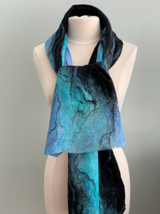 111 Shawl Turquoise and Black Merino Wool