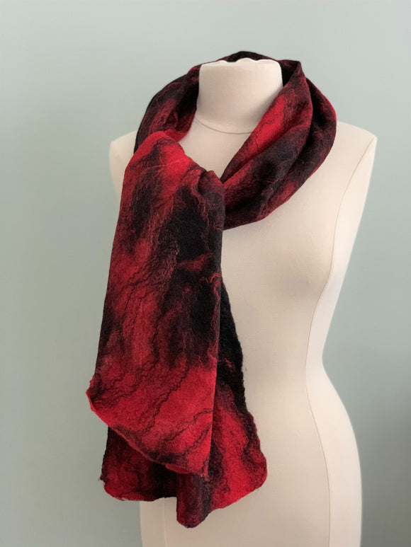 114 Shawl Red and Black Merino Wool   Not Eligible for Discount