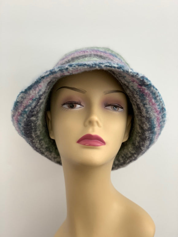 large multi color wool felted hat