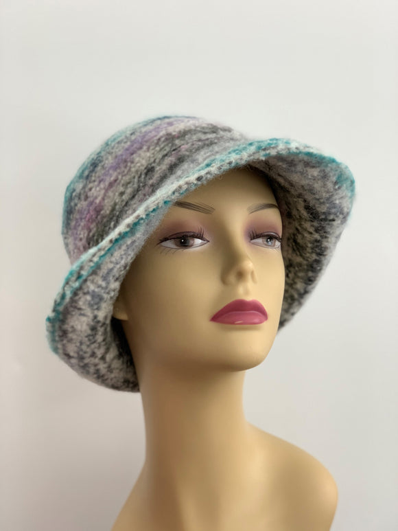 Large multi color felted hat