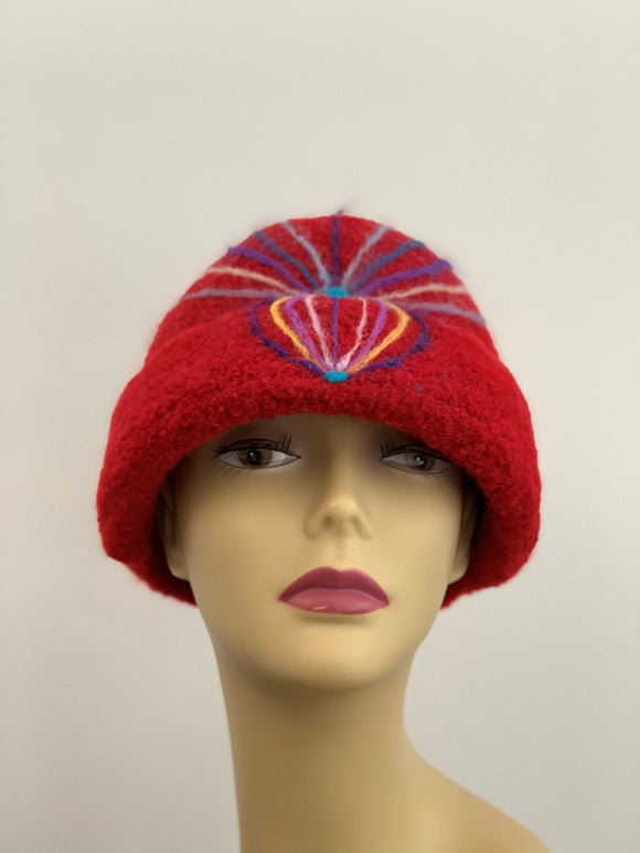 large red felted hat