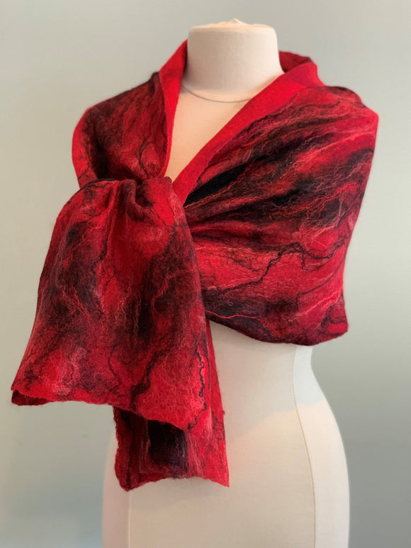 105 Shawl Red and Black Merino Shawl                               Not Eligible for Discount
