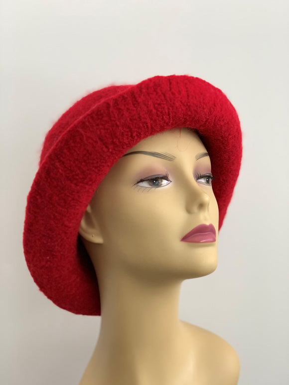 red wool felted hat