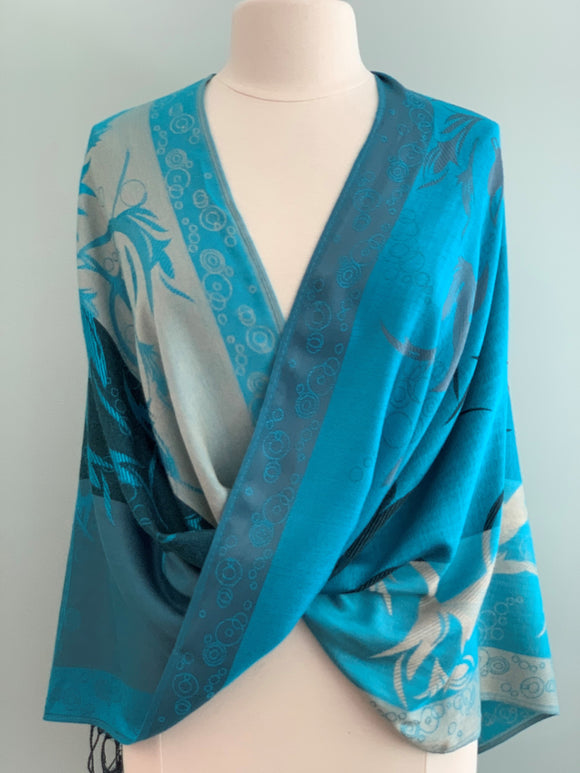 121 Blue Pashmina Tiffany Cape