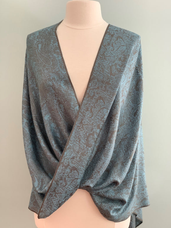190 Blue and Grey Pashmina Tiffany Cape