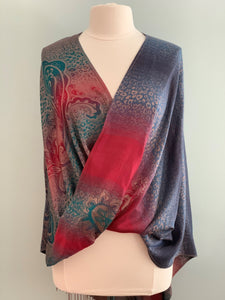 198 Red and Blue Pashmina Tiffany Cape