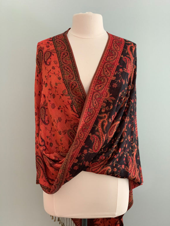274 Orange, Red, and Black Pashmina Tiffany Cape
